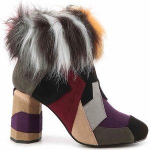 DSW Patchwork Colorblock Suede Fur Ankle Bootie